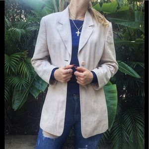Linen Blush Long Boyfriend Blazer Jacket
